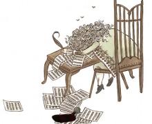 """Ilustração de Carson Ellis para """"O compositor está morto"""""""