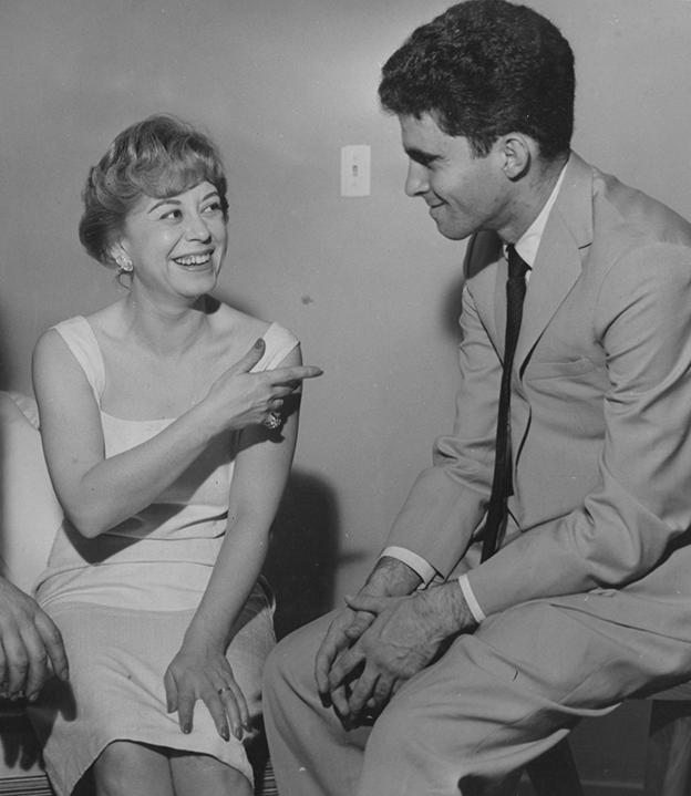 Em janeiro de 1958, com a estrela de cinema Giullieta Masina, que foi casada com Federico Fellini, ídolo do escritor brasileiro
