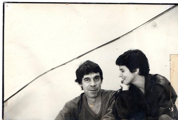 Sérgio Sant'Anna e a diretora Bia Lessa, em ensaio para a peça Orlando, de Virginia Woolf, em 1990.