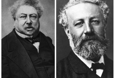 """Alexandre Dumas e Jules Verne, autores de """"Pedro e a gansa mágica"""" e """"As aventuras da família Raton"""", respectivamente"""