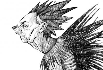 Detalhe da ilustração de Oliver Quinto para a campanha #MoscasSobreBolsonaro