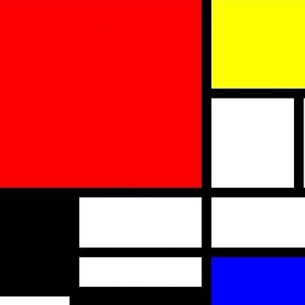 Detalhe de obra do holandês Piet Mondrian