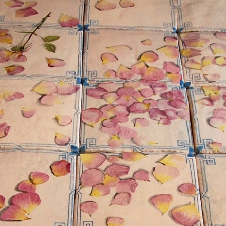 Detalhe do piso de azulejos com pétalas de rosas pintadas por Filippo Palizzi