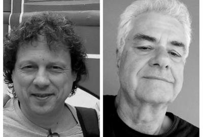 """André Sant'Anna, autor de """"Discurso sobre a metástase"""", e Reinaldo Moraes"""