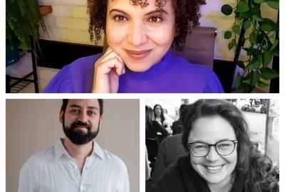 Os vencedores do Prêmio Cepe de Literatura: Lindevania Martins (no centro), Paulo Marcelo Fehlauer e Lilian Sais