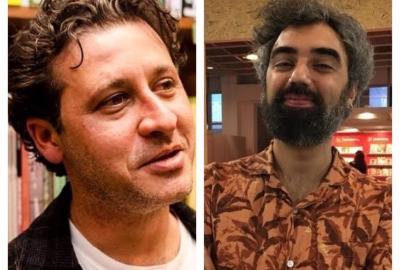 O editor Marcelo Nocelli e o escritor e antologista Fred Di Giacomo